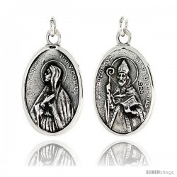 "Sterling Silver St. Monica and St. Augustine Medal Pendant 15/16"" X 5/8"" (24 mm X 16 mm)."
