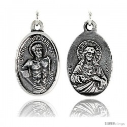 "Sterling Silver St. Dismas Good Thief and Sacred Heart Medal Pendant 15/16"" X 5/8"" (24 mm X 16 mm)."