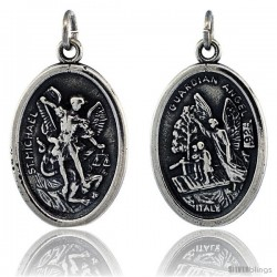"Sterling Silver St. Michael The Archangel Oval-shaped Medal Pendant, 7/8"" (23 mm) tall"