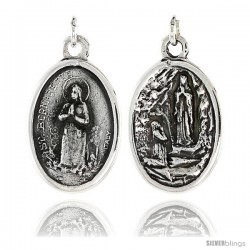 "Sterling Silver St. Bernadette and Ascension of Virgin Mary Medal Pendant 15/16"" X 5/8"" (24 mm X 16 mm)."