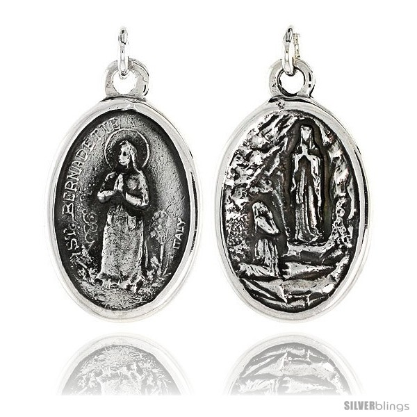 Sterling silver st bernadette and ascension of virgin mary medal undefined mozeypictures Images