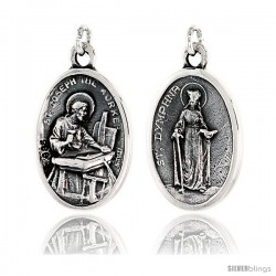 "Sterling Silver St. Joseph the Worker and St. Dymphna Medal Pendant 15/16"" X 5/8"" (24 mm X 16 mm)."