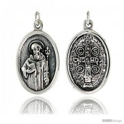 "Sterling Silver Saint Benedict Medal Pendant 15/16"" X 5/8"" (24 mm X 16 mm)."