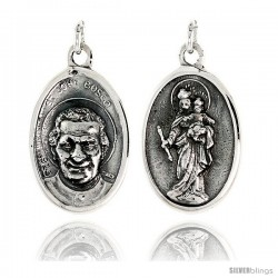 """Sterling Silver St. John Bosco Medal Pendant 15/16"""" X 5/8"""" (24 mm X 16 mm)."""