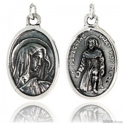 "Sterling Silver Virgin Mary and St. Peregrine 15/16"" X 5/8"" (24 mm X 16 mm)."