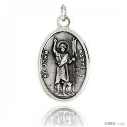 """Sterling Silver St. John Baptist Medal Pendant 15/16"""" X 5/8"""" (24 mm X 16 mm)."""