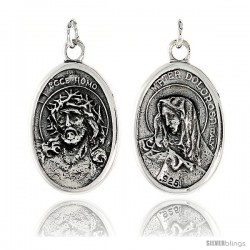 "Sterling Silver Jesus with Crown of Thorns / Sorrowful Mother Medal Pendant 15/16"" X 5/8"" (24 mm X 16 mm)."