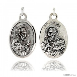 "Sterling Silver St. Peter and St. Paul Medal Pendant 15/16"" X 5/8"" (24 mm X 16 mm)."