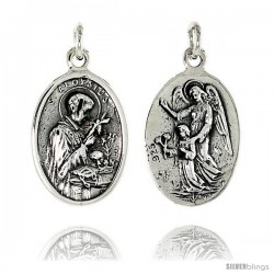 "Sterling Silver St. Aloysius and St. Gabriel Medal Pendant 15/16"" X 5/8"" (24 mm X 16 mm)."