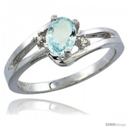 10K White Gold Natural Aquamarine Ring Oval 6x4 Stone Diamond Accent