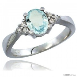 10K White Gold Natural Aquamarine Ring Oval 7x5 Stone Diamond Accent -Style Cw912168