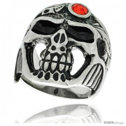 Surgical Steel Biker Skull Ring w/ Red CZ Jeweled Helmet