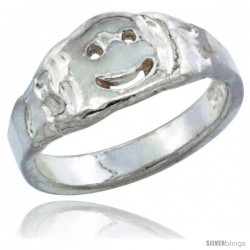 Sterling Silver Smiley Face Baby Ring / Kid's Ring / Toe Ring (Available in Size 1 to 5)