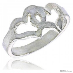 Sterling Silver Double Cut Out Heart Baby Ring / Kid's Ring / Toe Ring (Available in Size 1 to 5)