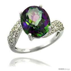 14k White Gold Natural Mystic Topaz Ring 12x10 mm Oval Shape Diamond Halo, 1/2inch wide