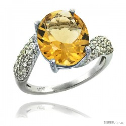 14k White Gold Natural Citrine Ring 12x10 mm Oval Shape Diamond Halo, 1/2inch wide