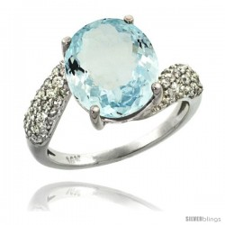 14k White Gold Natural Aquamarine Ring 12x10 mm Oval Shape Diamond Halo, 1/2inch wide