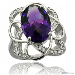 14k White Gold Natural Amethyst Floral Design Ring 13x 19 mm Oval Shape Diamond Accent, 7/8inch wide