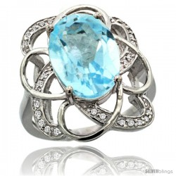 14k White Gold Sky Blue Topaz Floral Design Engagement Ring 6.20 Carats Oval Cut stone 0.09 cttw Diamonds, 7/8inch.