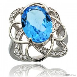 14k White Gold Natural Swiss Blue Topaz Floral Design Ring 13x 19 mm Oval Shape Diamond Accent, 7/8inch wide