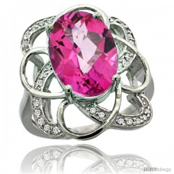 14k White Gold Natural Pink Topaz Floral Design Ring 13x 19 mm Oval Shape Diamond Accent, 7/8inch wide