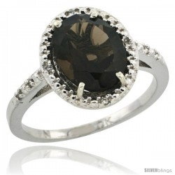 10k White Gold Diamond Smoky Topaz Ring 2.4 ct Oval Stone 10x8 mm, 1/2 in wide -Style Cw907111