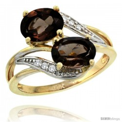 14k Gold ( 8x6 mm ) Double Stone Engagement Smoky Topaz Ring w/ 0.07 Carat Brilliant Cut Diamonds & 2.34 Carats Oval Cut