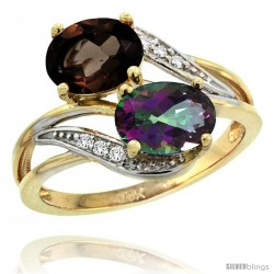 14k Gold ( 8x6 mm ) Double Stone Engagement Smoky & Mystic Topaz Ring w/ 0.07 Carat Brilliant Cut Diamonds & 2.34 Carats Oval