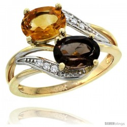 14k Gold ( 8x6 mm ) Double Stone Engagement Smoky Topaz & Citrine Ring w/ 0.07 Carat Brilliant Cut Diamonds & 2.34 Carats Oval