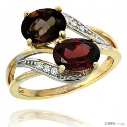 14k Gold ( 8x6 mm ) Double Stone Engagement Smoky Topaz & Garnet Ring w/ 0.07 Carat Brilliant Cut Diamonds & 2.34 Carats Oval