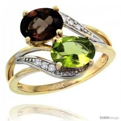 14k Gold ( 8x6 mm ) Double Stone Engagement Smoky Topaz & Peridot Ring w/ 0.07 Carat Brilliant Cut Diamonds & 2.34 Carats Oval