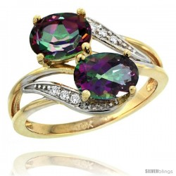 14k Gold ( 8x6 mm ) Double Stone Engagement Mystic Topaz Ring w/ 0.07 Carat Brilliant Cut Diamonds & 2.34 Carats Oval Cut