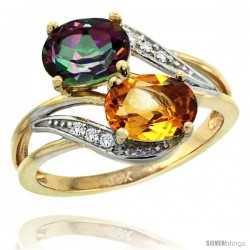14k Gold ( 8x6 mm ) Double Stone Engagement Mystic Topaz & Citrine Ring w/ 0.07 Carat Brilliant Cut Diamonds & 2.34 Carats Oval