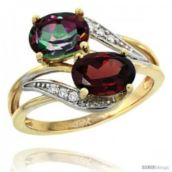 14k Gold ( 8x6 mm ) Double Stone Engagement Mystic Topaz & Garnet Ring w/ 0.07 Carat Brilliant Cut Diamonds & 2.34 Carats Oval