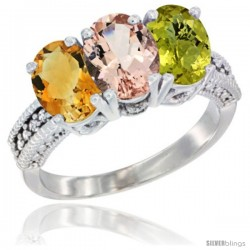14K White Gold Natural Citrine, Morganite & Lemon Quartz Ring 3-Stone 7x5 mm Oval Diamond Accent