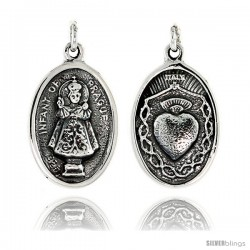"Sterling Silver Infant of Prague and Sacred Heart Medal Pendant 15/16"" X 5/8"" (24 mm X 16 mm)."