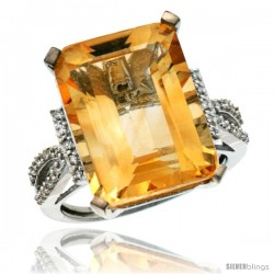 14k White Gold Diamond Citrine Ring 12 ct Emerald Shape 16x12 Stone 3/4 in wide