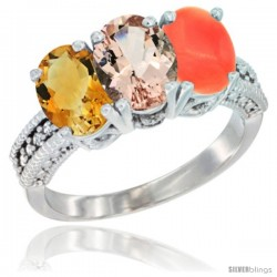 14K White Gold Natural Citrine, Morganite & Coral Ring 3-Stone 7x5 mm Oval Diamond Accent