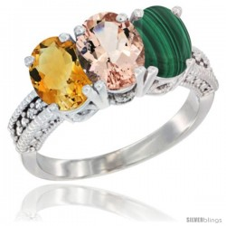 14K White Gold Natural Citrine, Morganite & Malachite Ring 3-Stone 7x5 mm Oval Diamond Accent