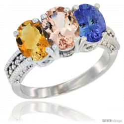 14K White Gold Natural Citrine, Morganite & Tanzanite Ring 3-Stone 7x5 mm Oval Diamond Accent