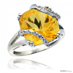 14k White Gold Diamond Citrine Ring 7.5 ct Cushion Cut 12 mm Stone, 1/2 in wide
