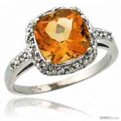 14k White Gold Diamond Citrine Ring 2.08 ct Cushion cut 8 mm Stone 1/2 in wide