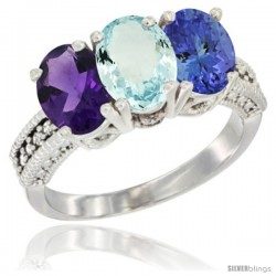 14K White Gold Natural Amethyst, Aquamarine & Tanzanite Ring 3-Stone 7x5 mm Oval Diamond Accent