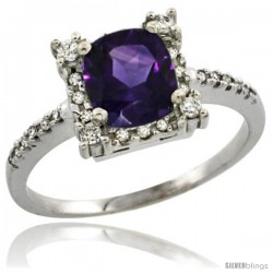 14k White Gold Diamond Halo Amethyst Ring 1.2 ct Checkerboard Cut Cushion 6 mm, 11/32 in wide -Style Cw401125