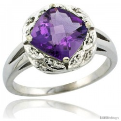 14k White Gold Diamond Halo Amethyst Ring 2.7 ct Checkerboard Cut Cushion Shape 8 mm, 1/2 in wide -Style Cw401127