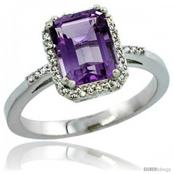 14k White Gold Diamond Amethyst Ring 1.6 ct Emerald Shape 8x6 mm, 1/2 in wide -Style Cw401129