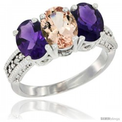 14K White Gold Natural Morganite & Amethyst Ring 3-Stone 7x5 mm Oval Diamond Accent
