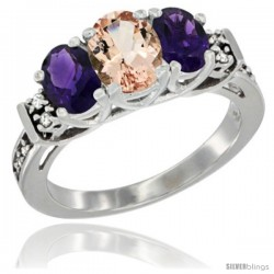 14K White Gold Natural Morganite & Amethyst Ring 3-Stone Oval with Diamond Accent