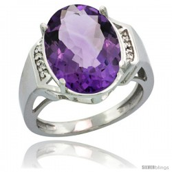 14k White Gold Diamond Amethyst Ring 9.7 ct Large Oval Stone 16x12 mm, 5/8 in wide