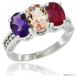 14K White Gold Natural Amethyst, Morganite & Ruby Ring 3-Stone 7x5 mm Oval Diamond Accent